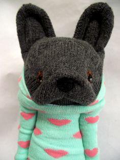 "Little Sockamajig ""Frenchie"" wearing a heart hoodie."