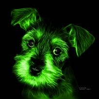 Green Salt and Pepper Schnauzer Puppy pop art by artist James Ahn. Schnauzers are a loyal breed. Bred as a rat catcher, yard dog, and guard dog. They have high energy and are intelligent... They make great companions... Schnauzer 7206   © Rateitart.com // All Rights Reserved.   #Green #ColorGreen #GreenArt #GreenPopArt #Schnauzer # SchnauzerArt # MinatureSchnauzer #DogArt #PopArt #DogArtPrints #ILoveSchnauzer #SchnauzerArtPrint