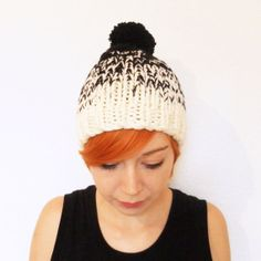 Ombre Knitted Bobble Hat with Large Pom Pom Hand by MabelMadeThis, £50.00