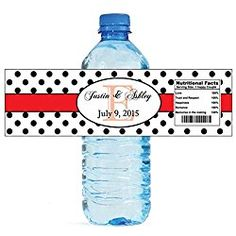 """100 Polka Dot Red Monogram personalized Wedding Engagement Party Water Bottle Labels 8""""x2"""""""