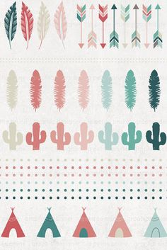 Tribal clipart flechas arrows cactus teepee feather por PetitePrune