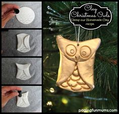 Clay CHRISTMAS Owl - SO easy and FUN to make with kids!