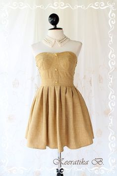 Beauty Queen  Strapless Dress Mustard Tone by LovelyMelodyClothing