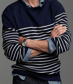 The Look: Kennedy. Picasso. These are men who knew the pleasures of ocean-ready knitwear — which is to say, typically striped, typically warm, and typically worn by someone who knows how to make the most of a yacht. We particularly like Trussardi 1911's take — done up in a slightly less traditional black, which is handy if you plan on going pirate — but in the meantime... The Steal: Pick up one now from Saint James (Pablo's choice) by way of J.Crew. Binic II sweater ($215) by Saint James…