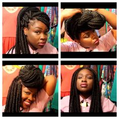 BOX BRAIDS / BUN / HAIR / PROTECTIVE HAIRSTYLE / POETIC JUSTIC BRAIDS / DOOKIE BRAIDS Braids Twists, Protective Hairstyles, Dookie Braids, Black Hair, Braids Style, Nature Braids, Nature Belle, Nature Hair, Boxes Braids