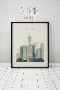 Seattle print, Seattle poster, Wall art, Seattle skyline, cityscape, City poster, Typography art, Home Decor, Digital Print ART PRINTS VICKY