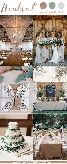 warm taupe, beige and greenery chic rustic wedding color inspiration