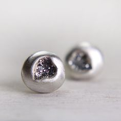 organic shaped silver post earrings with silver sparkles - tinygalaxies