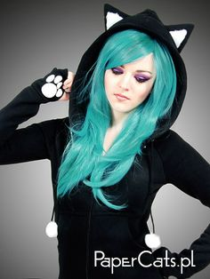 Black Cat Hoodie   $75.00, via Etsy (http://www.etsy.com/listing/116755298/black-cat-hoodie-long-ears-animal-kitty#)