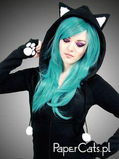 Black Cat Hoodie   $75.00, via Etsy (http://www.etsy.com/listing/116755298/black-cat-hoodie-long-ears-animal-kitty#)