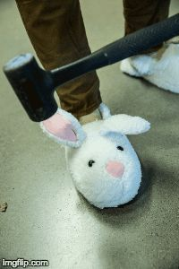 Steel toe bunny slippers! She's a genius! I'm making these this weekend
