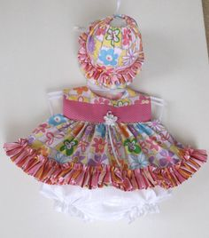 Newborn Baby Girl Frilly DressBonnetPanty by AntoinetteExclusives, $49.50