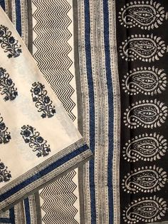 Buy Blue with Black Block Printed Mul Cotton Saree