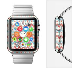The Vintage Red & Blue Chevron Pattern Full-Body Skin Set for the Apple Watch