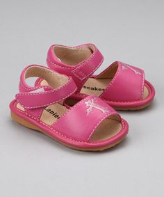 Loving this Hot Pink Cross Squeaker Sandal on #zulily! #zulilyfinds