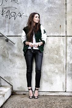 VARSITY JACKET: AMERICAN COLLEGE, LEATHER TROUSERS: MUUBAA, HEELS: JIMMY CHOO FOR H, CUFF: COOEE