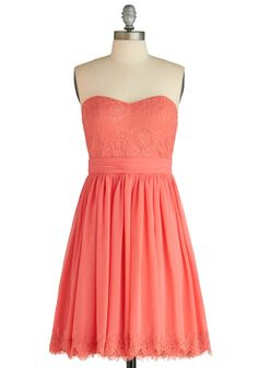 Chic My Name Dress - Lace, Party, Strapless, Summer, Wedding, Solid, Trim, Empire, Coral, Mid-length, Fit & Flare, Sweetheart