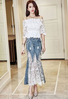 New Fashion Women's Denim Lace Mermaid Skirts Summer High Waist Jean Long Skirts