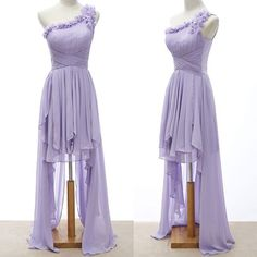 Lavender Chiffon One Shoulder High Low Prom Bridesmaid Party Dress SKU-401033