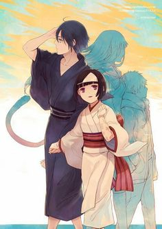Noragami (ノラガミ)It's side with Nora where Yato will be able live as a god of war and calamity.but it's the other side too, with Yukine and Hiyori. Anime Noragami, Nora Noragami, Yato And Hiyori, Manga Anime, Anime Art, Manhwa, Persona Anime, The Darkness, Yatori