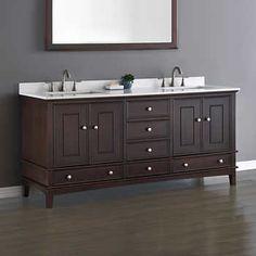 "Cambridge 72"" Espresso Brown Double Sink Vanity by Mission Hills"