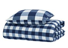 Hastens blue check pillowcase and comforter cover