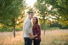 cream and plaid apple orchard engagement session