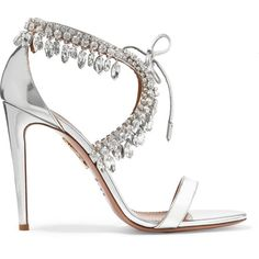Aquazzura Milla crystal-embellished metallic leather sandals (€1.315) ❤ liked on Polyvore featuring shoes, sandals, heels, silver, high heel shoes, metallic sandals, leather heel sandals, tie shoes and open toe sandals