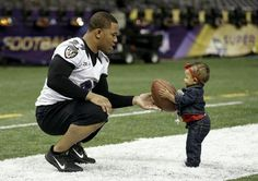 Ray Rice and his daughter right before the Super Bowl. A definite AWE moment.