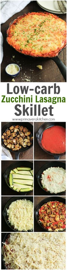 low-carb-zucchini-lasagna-skillet-This cheesy and saucy Low Carb Zucchini Lasagna Skillet is one-pan meal that has a delicious sauté mushroom filling, which brings this gluten-free lasagna to a new level on flavour. It's also very simple to assemble in a skillet.