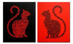 Matrix Cat  Red and Black    Original Painting on by MatriXArtbyDV, $119.00