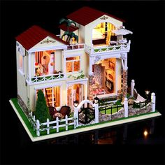 154.28$  Buy now - http://alioul.worldwells.pw/go.php?t=32380837239 - Large size DIY Wooden Doll House Miniature century  Verde villa  assembled 3D Miniature Dollhouse Toys lover Gifts 154.28$