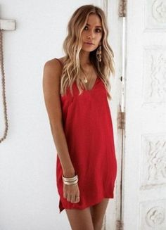 Romance Slip Dress - Dresses by Sabo Skirt Simple Red Dress, Simple Dresses, Casual Dresses, Short Dresses, Red Dress Casual, Red Summer Dresses, Dress Summer, Formal Dresses, Spring Summer Fashion