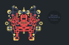 Set of 5 colorful ROBOTS. by panova on @creativemarket