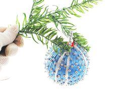 Vintage Christmas Ornament, Beaded Satin Ribbon Christmas Ornament, Blue Silver Christmas Ornament, Christmas Tree Ball Ornament by AVintageJewelryChest, $12.00