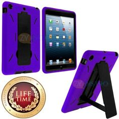 myLife (TM) Purple + Black Shockproof Survivor (With Built In Kickstand) Durable Case for Apple iPad Mini Touch Tablet (Soft and Flexible Ex...