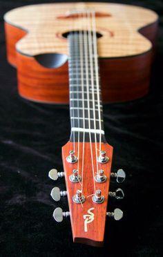 Short multiscale, medium-bodied acoustic in flame redwood and padauk. Violin, Acoustic, Guitars, Music Instruments, Medium, Musical Instruments, Guitar, Vintage Guitars, Medium-length Hairstyle