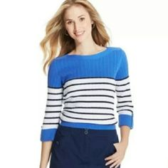 New Karen Scott Women's 3/4 Sleeves Blue Striped New Karen Scott Women's 3/4 Sleeves Blue Striped  Color : Blue White striped Material:100% Cotton Brand New With Tags! 3/4 Sleeve with button tab Karen Scott Tops Blouses