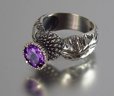 BLOOMING THISTLE silver ring with Amethyst by WingedLion on Etsy, $165.00