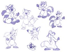 Raccoons and Foxes by crazyyellowfox.deviantart.com on @DeviantArt A compilation of some sketches of raccoons and foxes from various oC sessions.