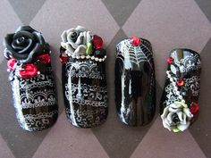 Japanese Nail Art Goth Lolita Deluxe by Nevertoomuchglitter nails halloween Art Goth, Goth Nail Art, Goth Nails, 3d Nails, Acrylic Nails, 3d Nail Art, Gorgeous Nails, Pretty Nails, Fancy Nails