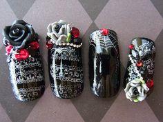 Japanese 3D Nail Art- Goth Lolita Deluxe (Long) via Etsy