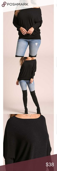 """""""Layla"""" Textured Knit Dolman Black Most loved Dolman top! Features textured knit bodice in a dolman silhouette with long bat wing sleeves. Has a wide boat neckline and boxy fit. Looks perfect with skinny jeans and boots! Also available in White & Mauve.  Model is 5'9"""" with a 34"""" bust, 25"""" waist, and 37"""" hips. Wearing size small. Blush Rose Boutique Tops"""