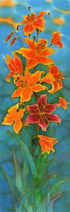 Original art for sale at UGallery.com | Tiger Lilies by Yelena Sidorova | mixed media artwork | 36' h x 12' w