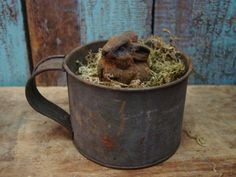 Rusted Old Tin Cup...moss & aged Bunny...
