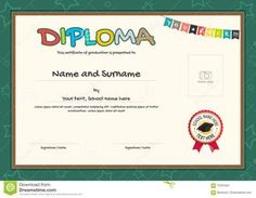 Colorful Diploma Certificate Template For Kids Stock Vector - Illustration of graduation, elegant: 70791631 Honor Student, Kids Vector, Certificate Templates, Camping With Kids, Lorem Ipsum, Graduation, Names, Colorful, Education