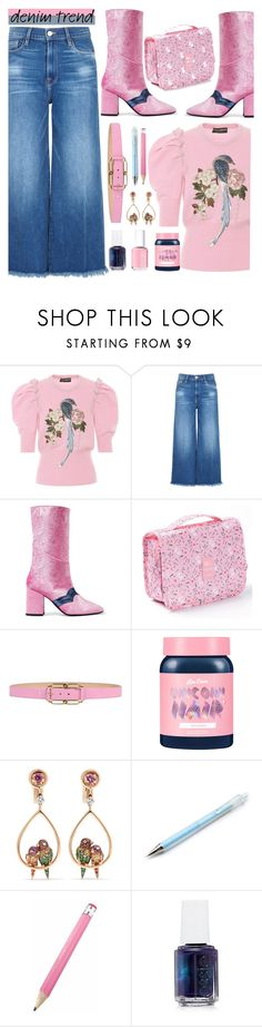 """Denim Trend/Wide Leg Jeans"" by loveroses123 ❤ liked on Polyvore featuring Dolce&Gabbana, Frame, MR by Man Repeller, Blumarine, Lime Crime, Boucheron, Essie, denimtrend and widelegjeans"