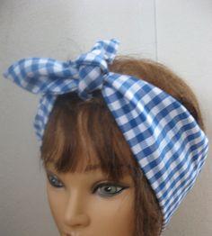 Bandana Hairband Rockabilly 50s  Bandana Headband BLUE