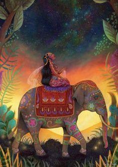 Articles similaires The Awestruck Princess print - mindfulness art indian princess elephant art print inner strength spiritual awakening - by Meluseena sur Etsy Indian Elephant, Elephant Art, Mindfulness Art, Yoga Illustration, Indian Princess, Yoga Art, Indian Paintings, Abstract Paintings, Art Paintings