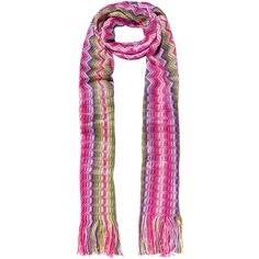 Missoni Metallic crochet-knit scarf (285 CAD) ❤ liked on Polyvore featuring accessories, scarves, pink, pink shawl, fringe scarves, zig zag scarves, knit shawl and metallic scarves